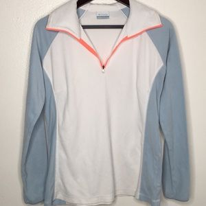 Columbia White Blue 1/4 Zip Fleece SzL